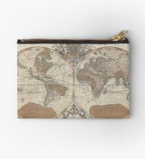 Vintage 1691 Sanson Map of the World Studio Pouch