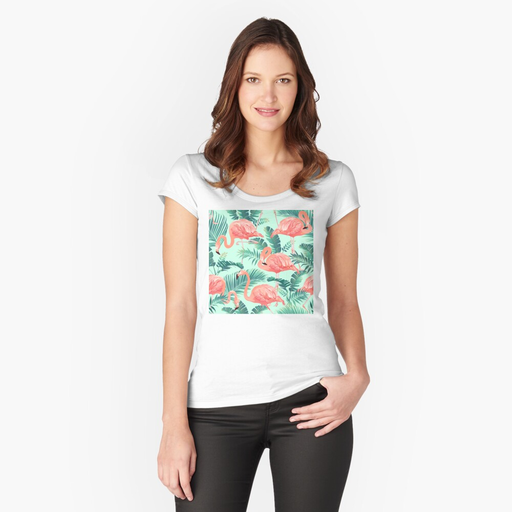 Flamingo Bird Tropical Palm Pattern Fitted Scoop T-Shirt