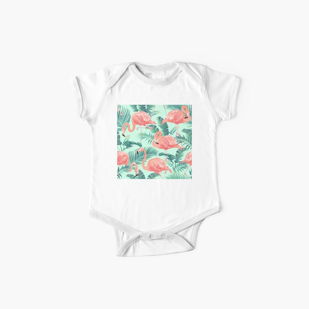 Flamingo Bird Tropical Palm Pattern Baby One-Piece