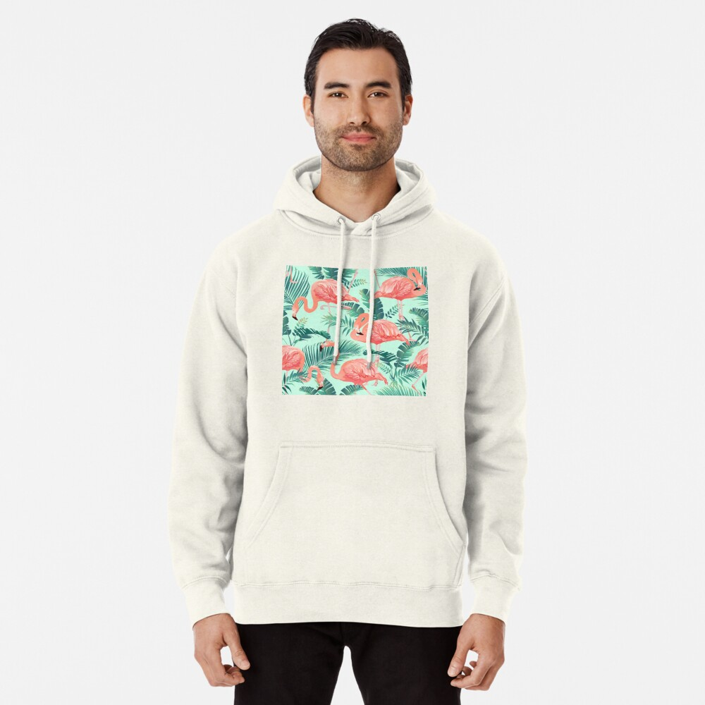 Flamingo Bird Tropical Palm Pattern Pullover Hoodie