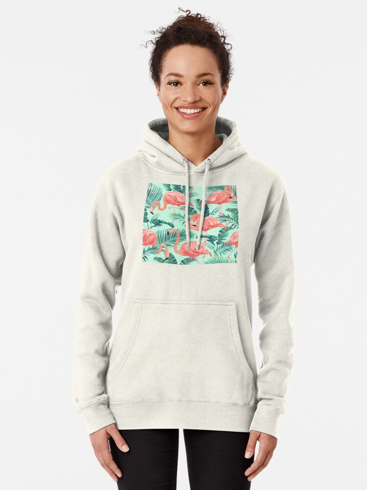 Alternate view of Flamingo Bird Tropical Palm Pattern Pullover Hoodie