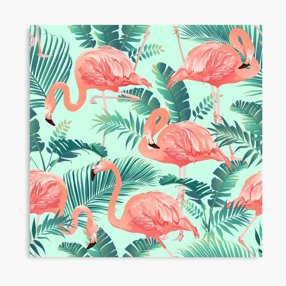 Flamingo Bird Tropical Palm Pattern Canvas Print