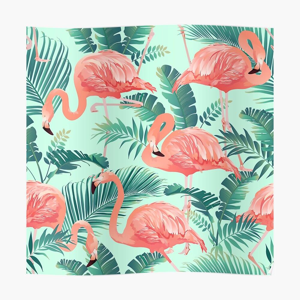 Flamingo Bird Tropical Palm Pattern Poster