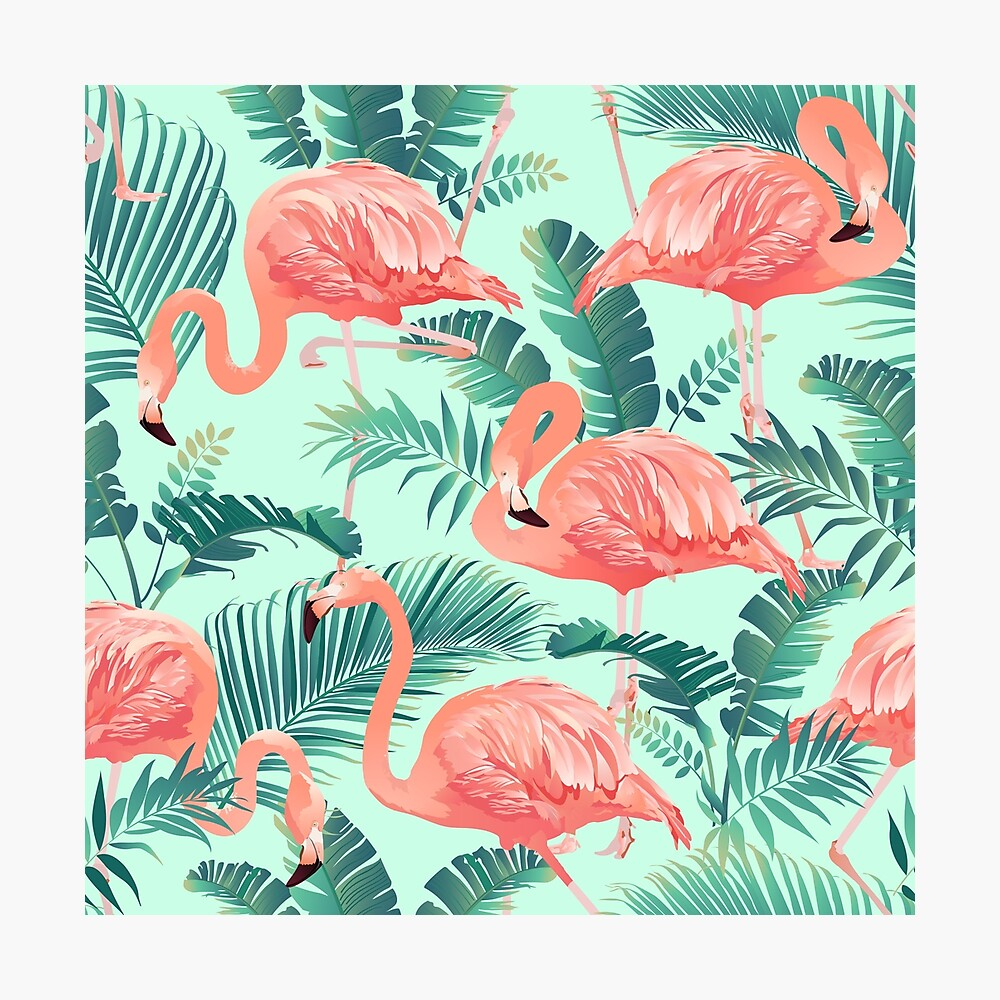 Flamingo Bird Tropical Palm Pattern Photographic Print