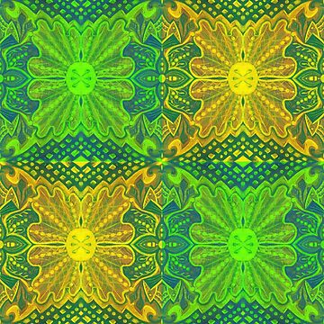"""""""Oak King"""", bohemian pattern in yellow and green  by clipsocallipso"""