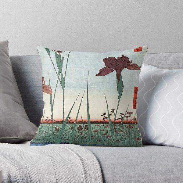HD Horikiri Iris Garden, by Utagawa Hiroshige HIGH DEFINITION Throw Pillow