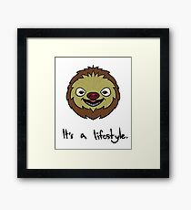 Sloth It's A Lifestyle Funny & Cute Framed Print