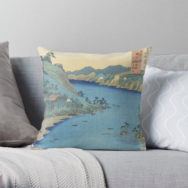 HD Province of Totomi: Lake Hamana, by Utagawa Hiroshige HIGH DEFINITION Throw Pillow