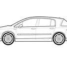 Renault Vel Satis Classic Car Outline Artwork by RJWautographics