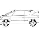 Renault Avantime Classic Car Outline Artwork by RJWautographics
