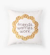 Friends, Waffles, Work Throw Pillow