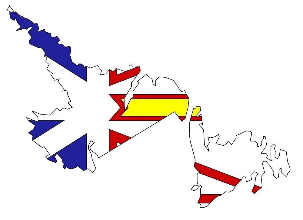 Newfoundland Labrador Flag Map By Abbeyz Redbubble - Newfoundland and labrador map