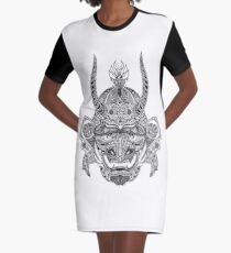 Samurai Mask Graphic T-Shirt Dress