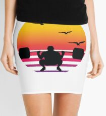 weight lifting retro sunset, #weight lifting  Mini Skirt