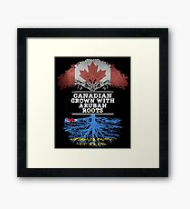Canadian Grown With Aruban Roots Gift For Aruban From Aruba - Aruba Flag in Roots Framed Print