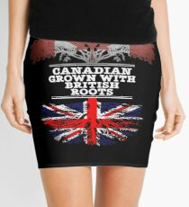 Canadian Grown With British Roots Gift For British From Great Britain - Great Britain Flag in Roots Mini Skirt