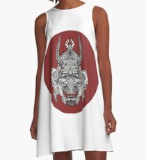 Samurai Mask - Red Circle by FlorisV A-Line Dress