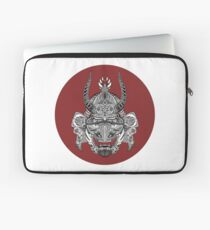 Samurai Mask - Red Circle by FlorisV Laptop Sleeve