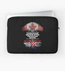 Canadian Grown With Croatian Roots Gift For Croatian From Croatia - Croatia Flag in Roots Laptop Sleeve