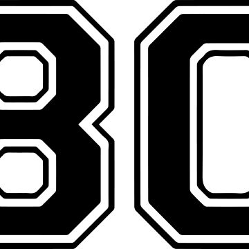 Varsity Black Number 80 Single | Black and white eighty number by igorsin