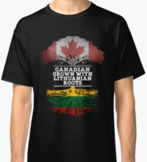 Canadian Grown With Lithuanian Roots Gift For Lithuanian From Lithuania - Lithuania Flag in Roots Classic T-Shirt