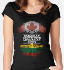 Canadian Grown With Lithuanian Roots Gift For Lithuanian From Lithuania - Lithuania Flag in Roots Women's Fitted Scoop T-Shirt