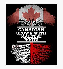 Canadian Grown With Maltese Roots Gift For Maltese From Malta - Malta Flag in Roots Photographic Print