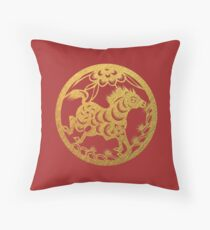 Chinese Zodiac Horse in Gold Throw Pillow
