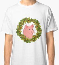 funny cute cartoon pig in a wreath of acorns Classic T-Shirt
