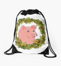funny cute cartoon pig in a wreath of acorns Drawstring Bag