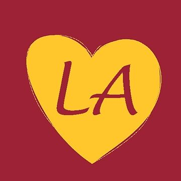 Red and Gold Los Angeles Heart Gift LA Pride Sports Football by DigitalNomadTee