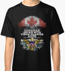Canadian Grown With Virgin Islander Roots Gift For Virgin Islander From Us Virgin Islands - Us Virgin Islands Flag in Roots Classic T-Shirt