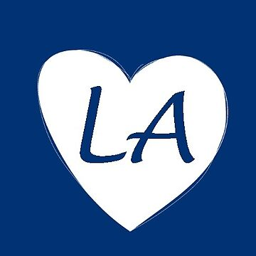 Blue and White Los Angeles Heart Gift LA Pride Baseball by DigitalNomadTee