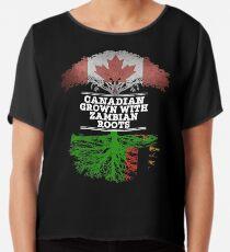 Kanadisches gewachsenes mit Sambianwurzel-Geschenk für Sambian von Sambia - Sambia-Flagge in den Wurzeln Chiffontop