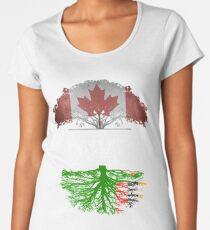 Kanadisches gewachsenes mit Sambianwurzel-Geschenk für Sambian von Sambia - Sambia-Flagge in den Wurzeln Premium Rundhals-Shirt
