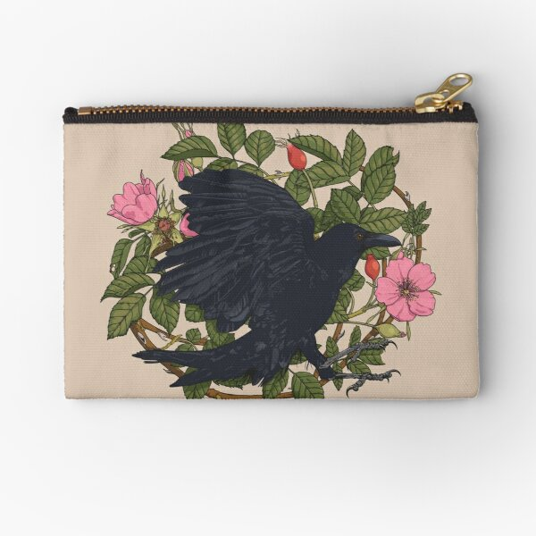 Raven and roses Zipper Pouch