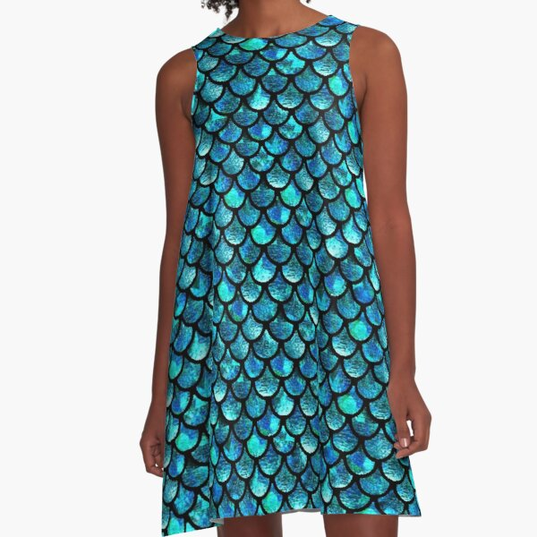 Mermaid Scales - Turquoise Blue A-Line Dress