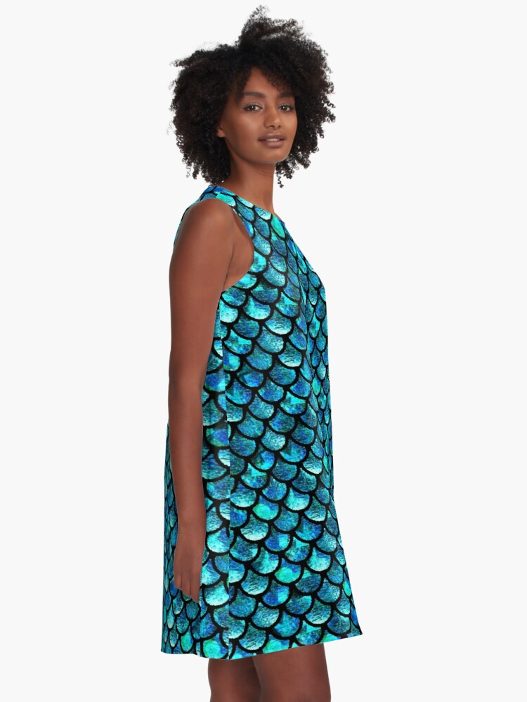 Alternate view of Mermaid Scales - Turquoise Blue A-Line Dress