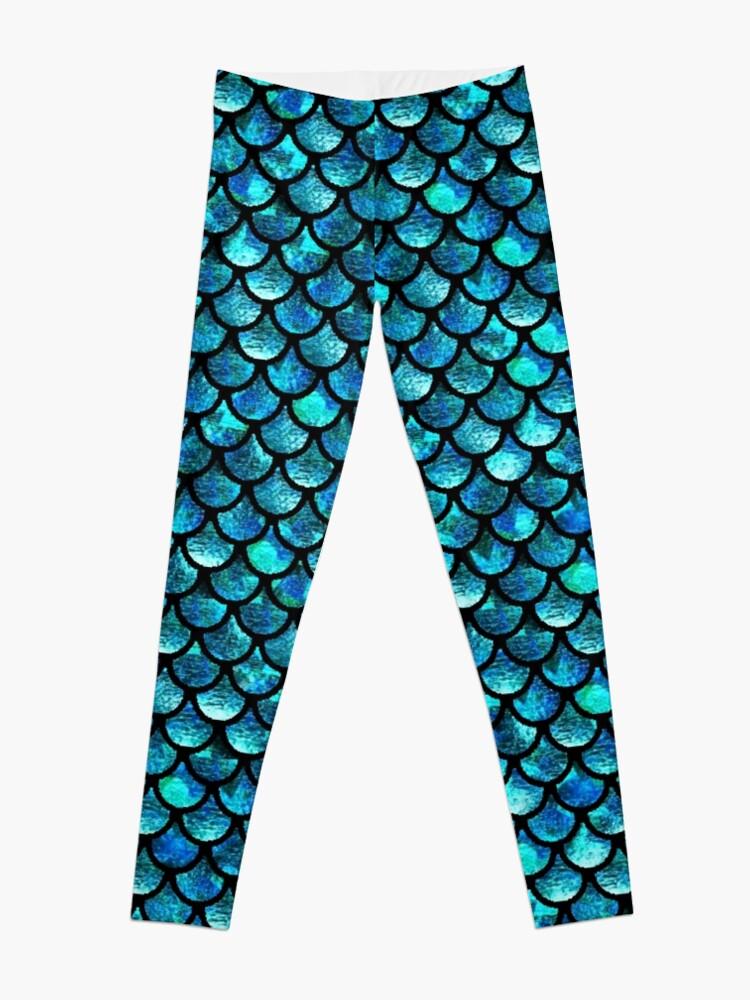 Alternate view of Mermaid Scales - Turquoise Blue Leggings