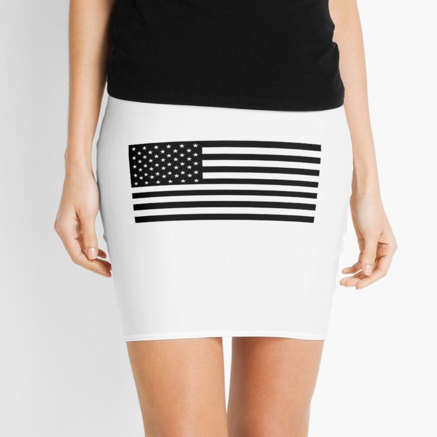 Bandera americana, STARS & STRIPES, EE. UU., América, negro sobre blanco Minifalda