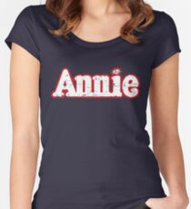 Annie Broadway Musical Show Movie Orphan Film Vintage Distressed Women's Fitted Scoop T-Shirt