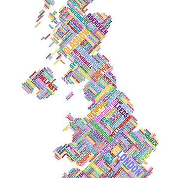 Great Britain UK City Text Map by ArtPrints