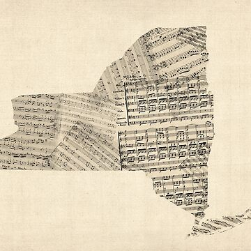Old Sheet Music Map of New York State by ArtPrints