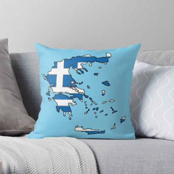 Greece Map With Greek Flag Throw Pillow