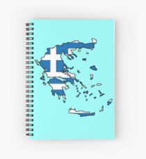 Greece Map With Greek Flag Spiral Notebook