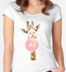 Pink Bubblegum Giraffe  Fitted Scoop T-Shirt