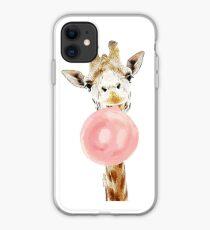 Pink Bubblegum Giraffe  iPhone Case