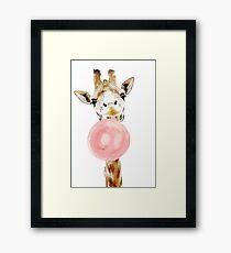 Rosa Bubblegum Giraffe Gerahmtes Wandbild