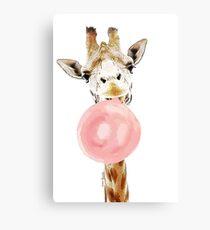 Pink Bubblegum Giraffe  Canvas Print