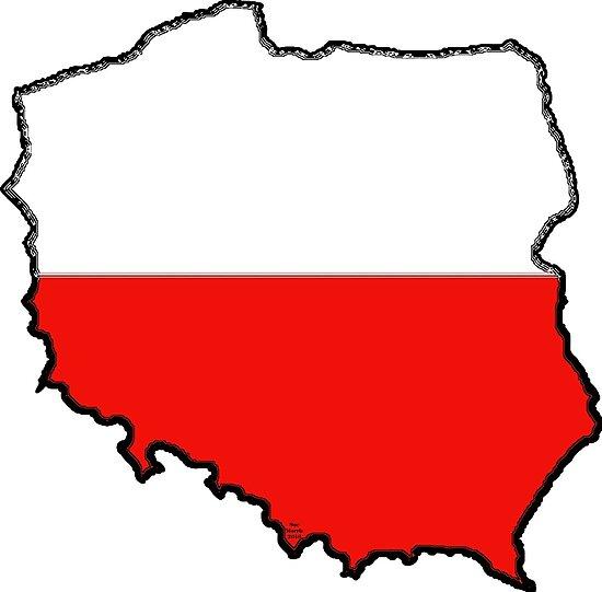 Poland Map With Polish Flag\